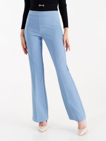 Mid-flared trousers in technical fabric, cerulean brown Mid-flared trousers in technical fabric, cerulean brown Rinascimento