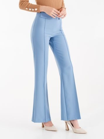 Mid-flared trousers in technical fabric, cerulean blue Mid-flared trousers in technical fabric, cerulean blue Rinascimento