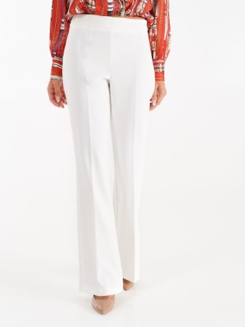 Pantaloni Mid Flared in Tessuto Tecnico color Bianco Pantaloni Mid Flared in Tessuto Tecnico color Bianco Rinascimento