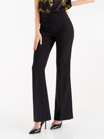 Mid-flared trousers in technical fabric, black Mid-flared trousers in technical fabric, black Rinascimento