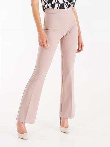 Pantaloni Mid Flared in Tessuto Tecnico colorDusty Pink Pantaloni Mid Flared in Tessuto Tecnico colorDusty Pink Rinascimento