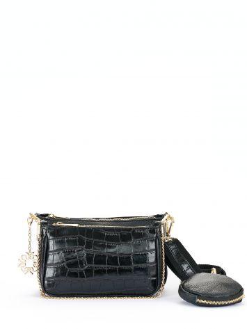 Multi-accessory leather clutch, black Multi-accessory leather clutch, black Rinascimento