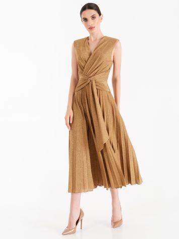 Brown caramel pleated dress with lurex thread Brown caramel pleated dress with lurex thread Rinascimento