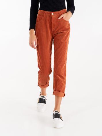 Pantaloni in Velluto color Ruggine Pantaloni in Velluto color Ruggine Rinascimento