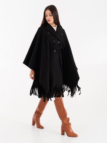 Cape coat with fringe, black Cape coat with fringe, black Rinascimento