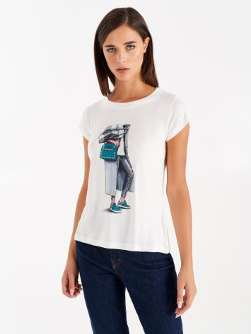 Viscose T-shirt with print Viscose T-shirt with print Rinascimento
