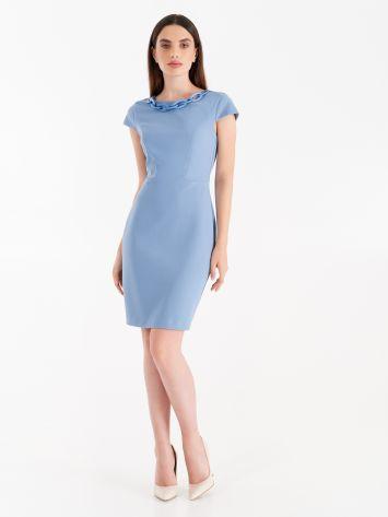 Crepe scuba sheath dress, cerulean blue Crepe scuba sheath dress, cerulean blue Rinascimento