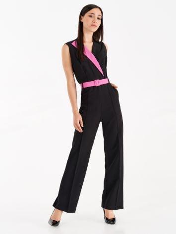 On-piece tuxedo suit with fuchsia details On-piece tuxedo suit with fuchsia details Rinascimento