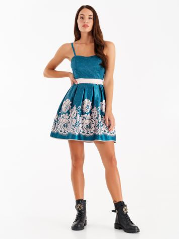 Short dress with satin lace print Short dress with satin lace print Rinascimento