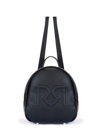 Black faux leather logo backpack Black faux leather logo backpack Rinascimento