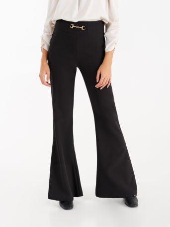 Pantaloni High Waist con Moschettone