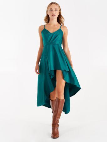 Satin asymmetrical dress, teal
