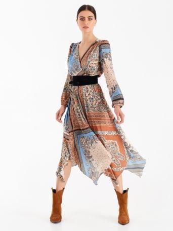 Asymmetrical patch-print dress