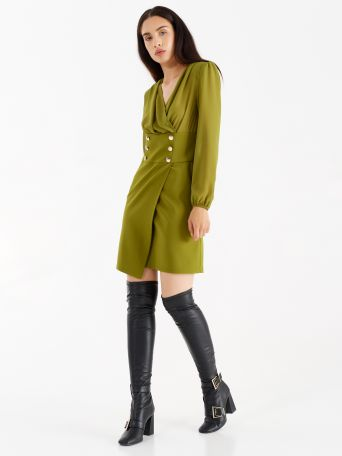 Dress with double line of buttons, colour oil green