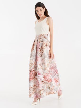 Dress with duchesse fabric skirt