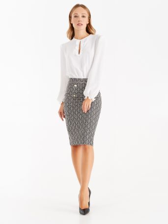 Dress with meander print skirt