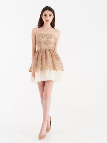 Short dress with lace frills