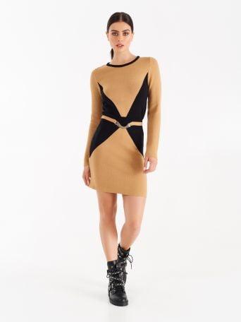 Knit dress with trompe l'oeil