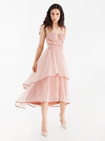 Tulle dress with contrasting details