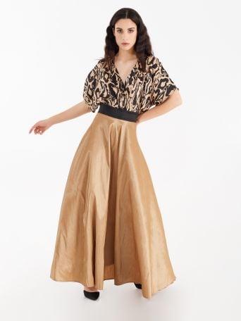 Full-length dress with taffeta skirt