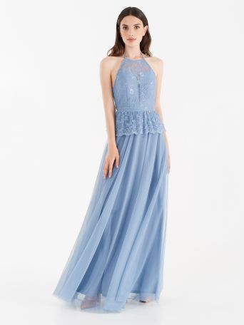 Tulle and lace full-length dress cerulean blue