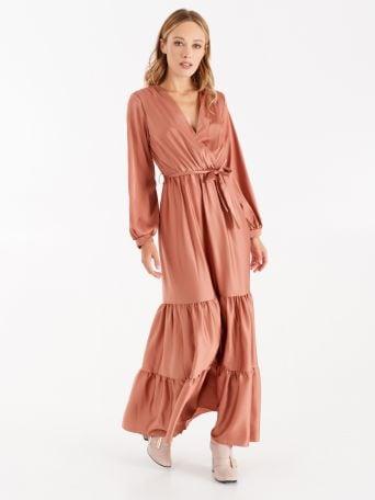 Long satin dress, dark pink