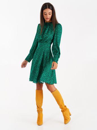 Robe imprimé animal de couleur verte