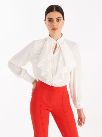 Blouse with jabot collar