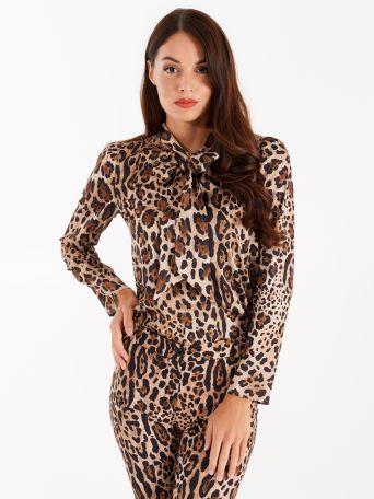 Bluse mit Leopardenmuster und Schleife