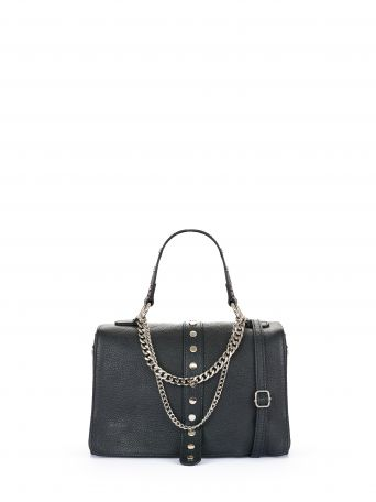 Bolso con cadenas de piel color negro