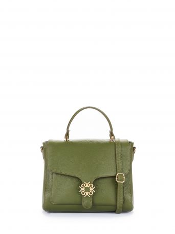 Leather Monogram bag, colour military green