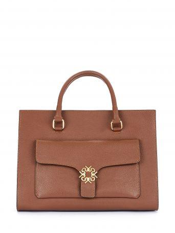 Monogram tote in leather, dark brown