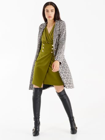Coat with all-over Greek motif