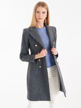 Double-breasted coat, melange grey