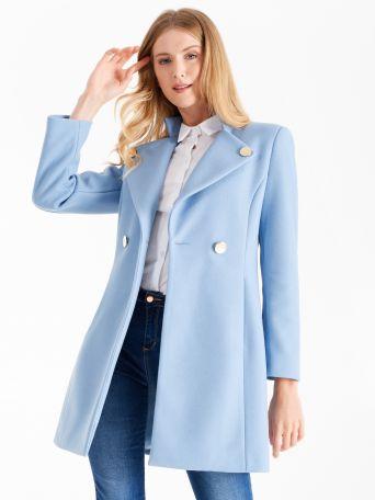 Abrigo medio color azul cerúleo