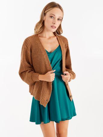 Knit cardigan, colour camel