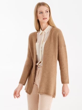 Wool and viscose blend cardigan with belt
