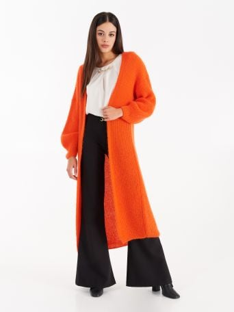 Maxi Cardigan in Mohair Arancione