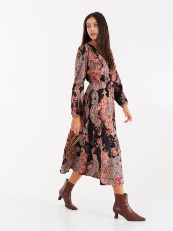 Cashmere print midi dress
