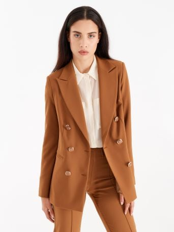 Double-breasted jacket with gold-tone buttons, caramel colour