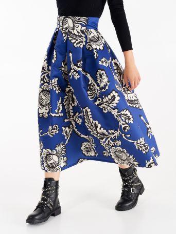 Falda de satén duquesa en tonos azul Klein