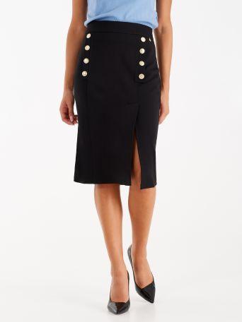 Falda de punto milano con botones marineros