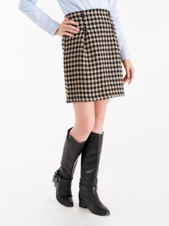 Falda de pata de gallo de algodón y viscosa en tonos rojo y negro