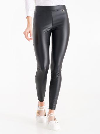 Legging en tissu enduit couleur noire
