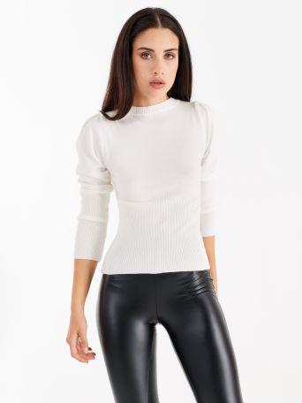 Jersey con mangas abullonadas color blanco