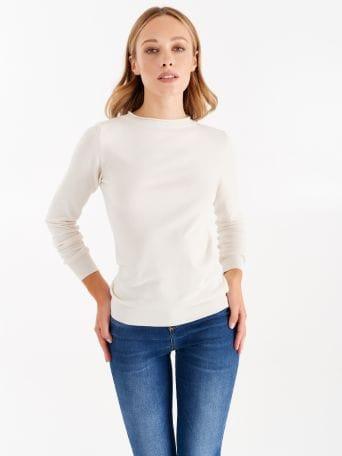 Jersey con escote de barco color blanco crema