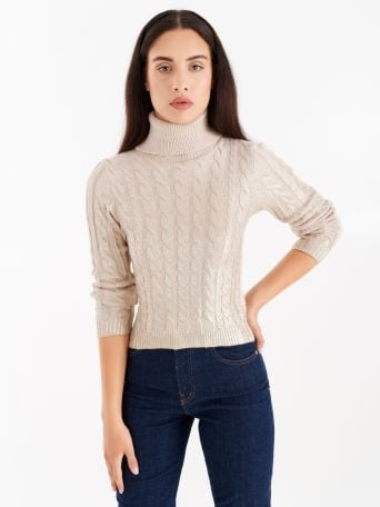 Cable-knit turtleneck with coating