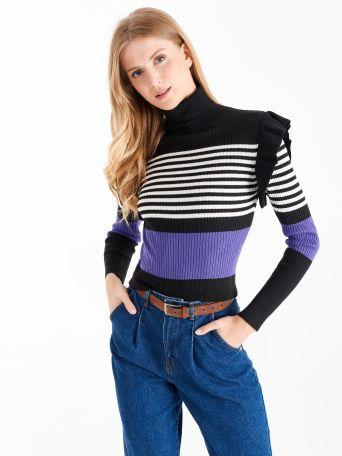 Pull côtelé à bande violette