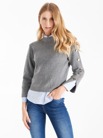 Charcoal grey jumper with gold buttons