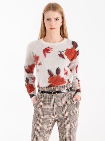 Mohair jumper with floral jacquard workmanship